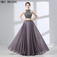 H S BRIDAL Two Pieces Evening Dress Crystal Beading Chiffon Evening Dresses Backless Evening Gowns For