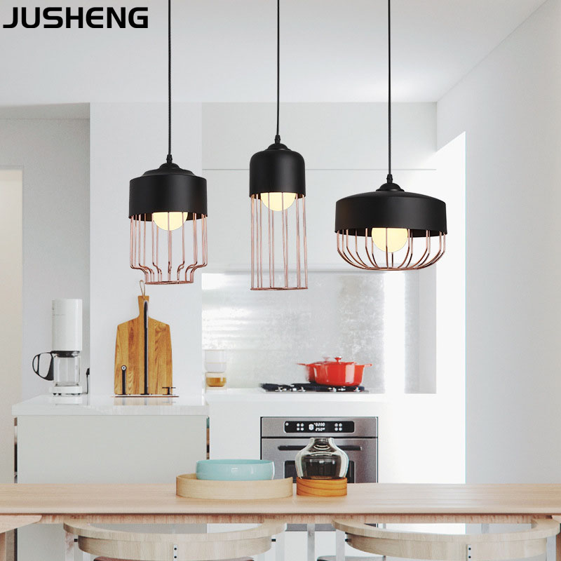 JUSHENG Black Metal Pendant Lighting Russia Bar Cafe Hanging Lamp Bedroom Lighting For Dining Kitchen Island E27 Bulb