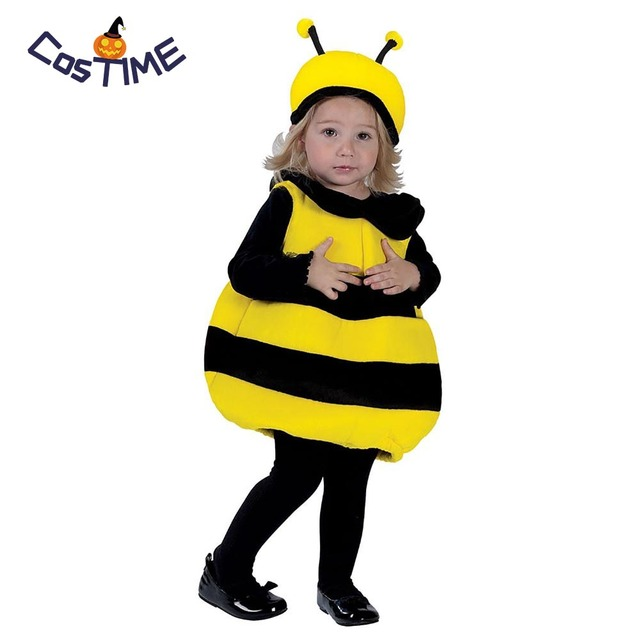 aa157f596 Kids Toddlers Bee Costumes Little Bumble Bee Black And Yellow Stripes One  Piece With Hat Outfit Fancy Dress Halloween Costumes