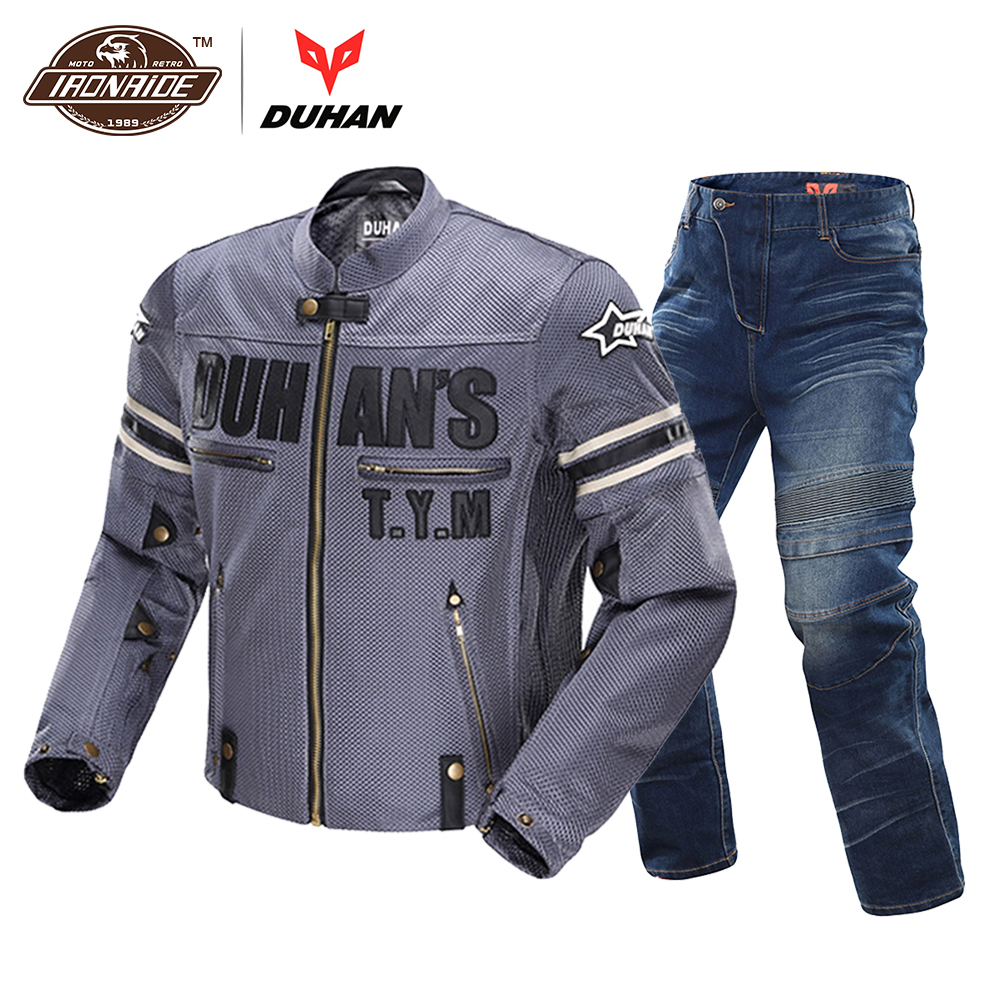 DUHAN Motorcycle Jacket Breathable Racing Riding Moto Jacket Windproof Motorcycle Pants Suit Motorcycle Clothing for Men new stock arrival 2018 motogp motorcycle shatter resistant riding suit racing suit for dain