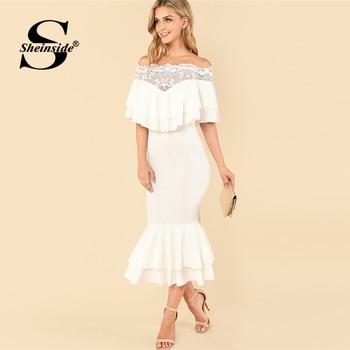 3906db544 Sheinside elegante del hombro bordado con cola de pez de encaje vestido de  las mujeres de