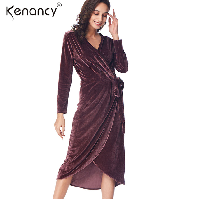 Kenancy 3xl Plus Size Belted Sexy V Neck Ruffles Faux Wrap Velvet