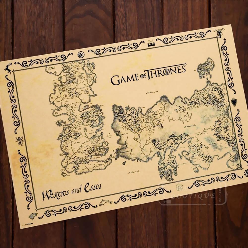 Antique Map Kraft Paper Game of Thrones Comics Vintage Classic Retro ...