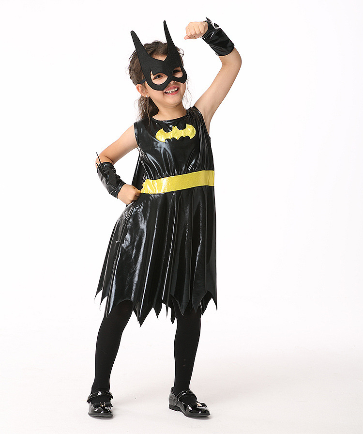 Y03-X055 Children kid's Cosplay girl Princess Dress Halloween Party Costume Clothes anime performance batman dress type set