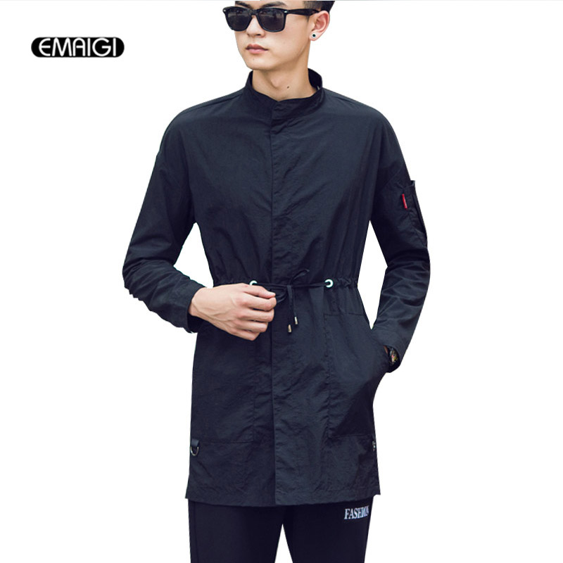 Spring Autumn Men Long Slim Fit Trench Coat Solid Color Fashion Casual Male Thin Windbreaker Jacket