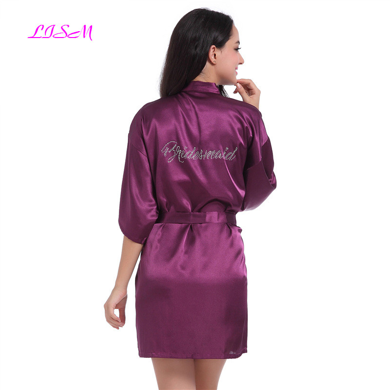 LISM Rhinestone Nightdress Female Kimono Sleepwear Sexy Nightwear Nightgown  Bridesmaid Bride Wedding Robe Gown For Women
