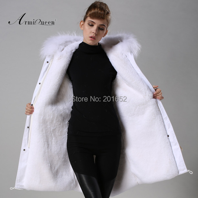 New Fashion Warm Women Slim Long canvas Jacket Fur Collar Parka white long coat with mrs fur lined Winter Coat Factory Price 5