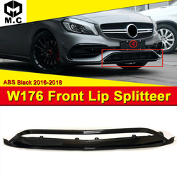 W176 zderzak przedni rozgałęźniki ABS czarny stylizacja samochodu dla Mercedes Benz A klasa A180 A200 A45AMG wygląd przednie rozgałęźniki 16 18|Zderzaki|   -