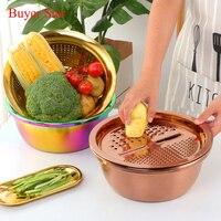 3PC/Set Stainless Steel Vegetable Slicer Potato Peeler Carrot Grater Strainer Round Kitchen Rice Washing Basin Household Utensil