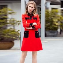 dae55980a124da XF 1023-5 2018 Nieuwe Fashion Designer Herfst Kerst Vrouwen Revers Boog Lange  Mouw Retro Pocket Casual Slim Rood jurk