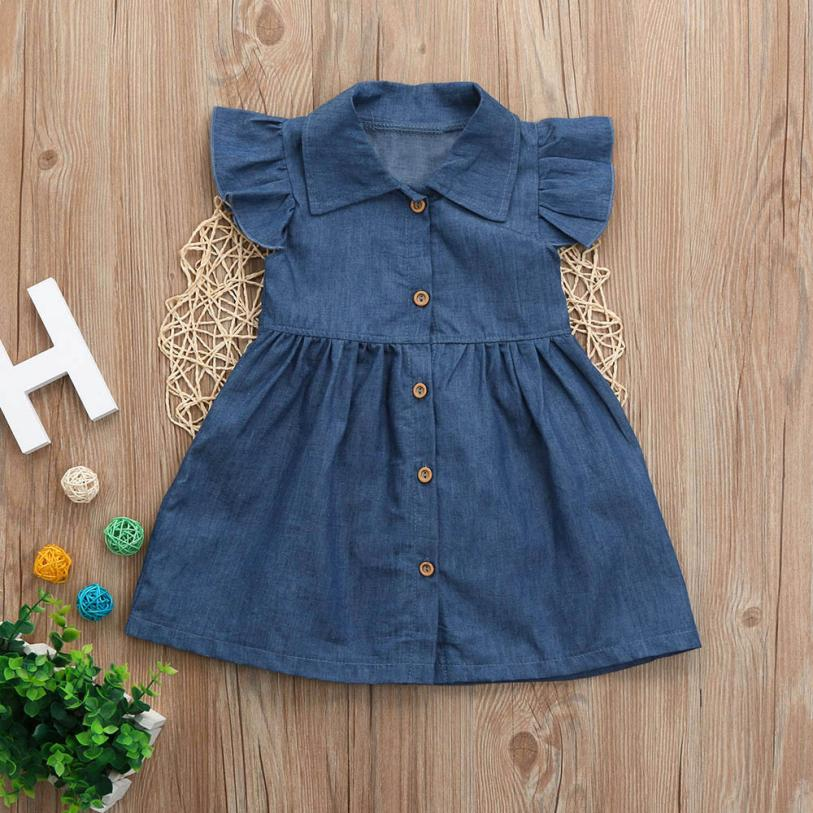 Denim dresses for Baby Girls Dress Sleeveless summer Solid fashion Princess dress toddler kids Outfits Clothes European Style ems dhl free shipping toddler little girl s 2017 princess ruffles layers sleeveless lace dress summer style suspender