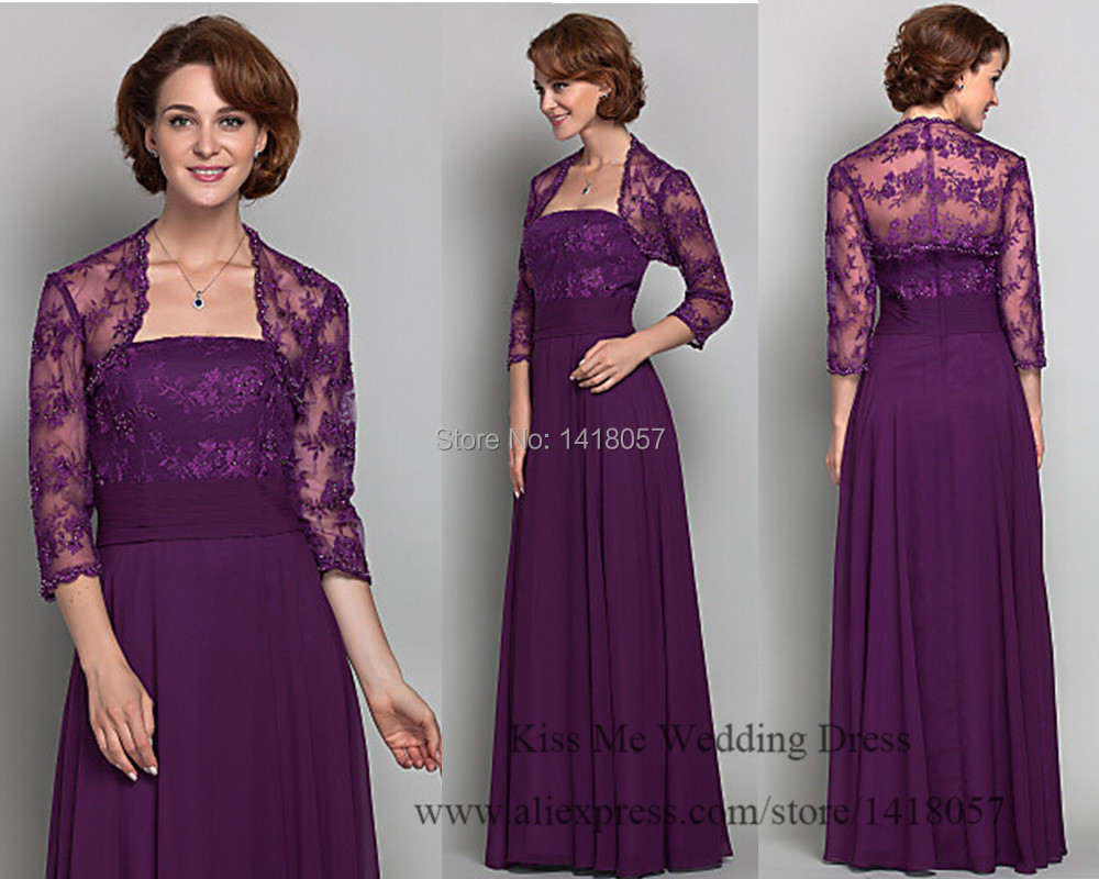 2015 Elegant Purple Mother Of The Bride Lace Dresses With