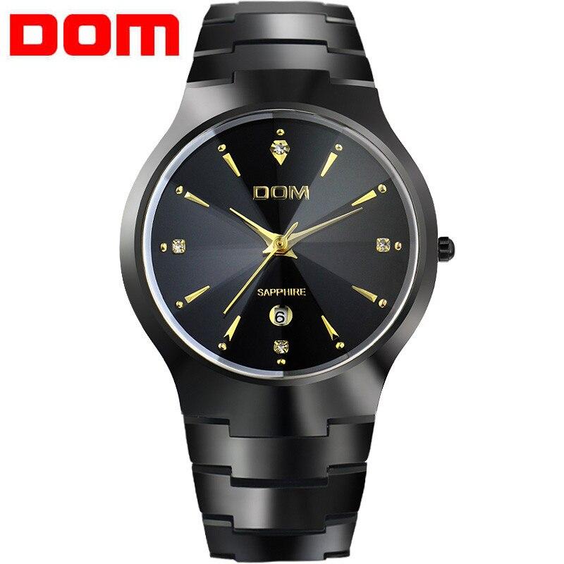 Часы мужские роскошные Брендовые Часы из вольфрамовой стали Кварцевые часы dom мужские наручные часы мужские часы модные Relogio masculino