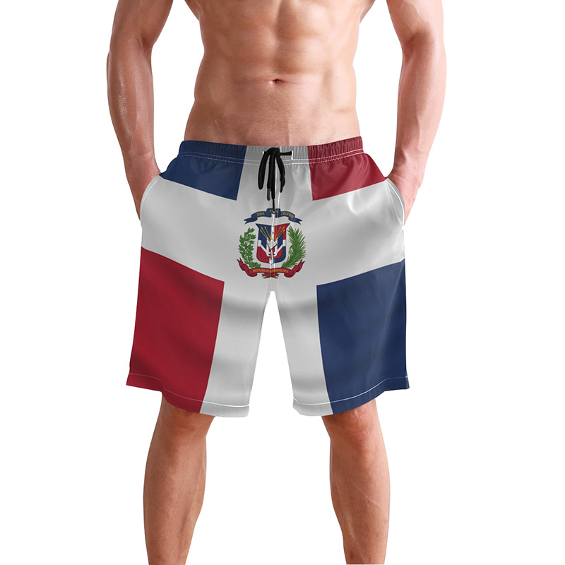 Mens Casual Beach Shorts Polyester Puerto Rico Strong Flag Swimsuit with Pockets
