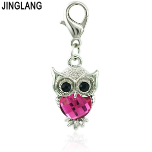 Image 2 - JINGLANG Wholesale Price Owl Lobster Clasp Charms Plastic Crystal Animal Pendants DIY Charms For Jewelry Making Accessories