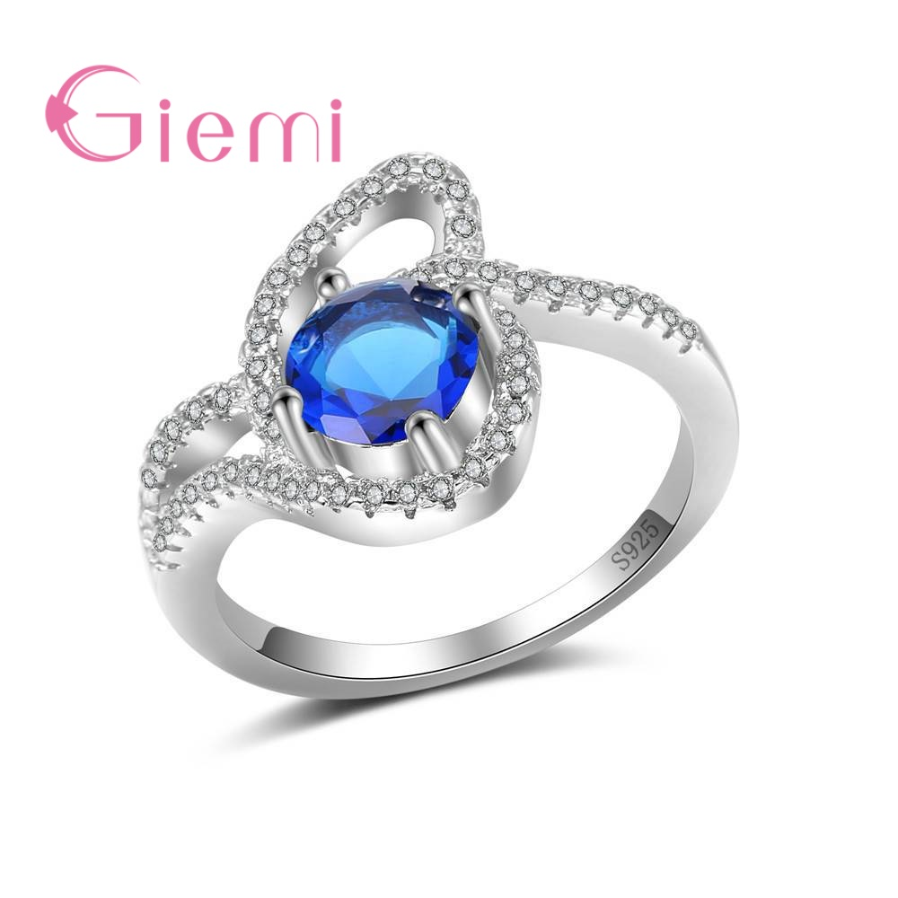 GIEMI New 4 Colors 100% 925 Sterling Silver Ring Romantic Finger Ring for Women Ladies Crystal Wedding Jewelry Ladies Bague