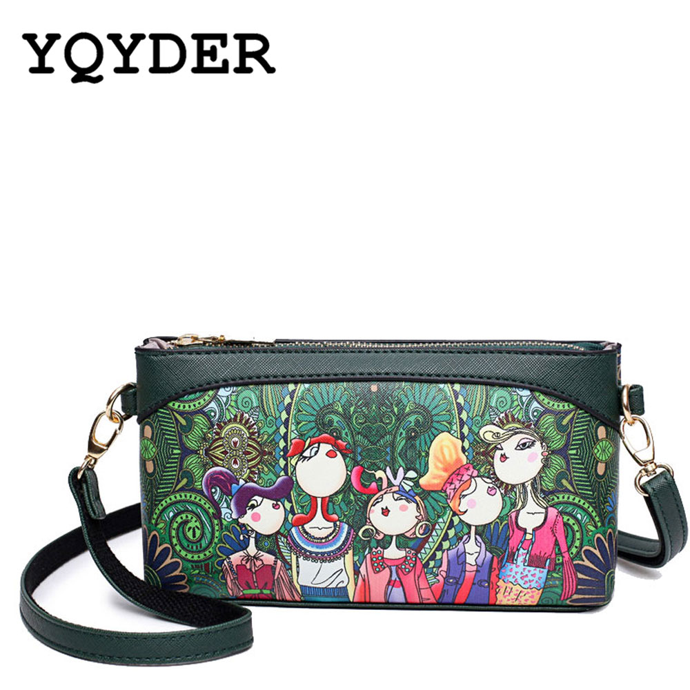 YQYDER Brand Shoulder Bags Small Crossbody Bags Women High Quality PU Leather Handbags Ladies Designer Cartoon Printing Purse hongu genuine leather crossbody shoulder bags for women designer handbags high quality small square casual side purse