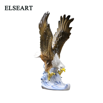 Ceramic eagle spread their wings on the waves porcelain bird animal for office home decoration