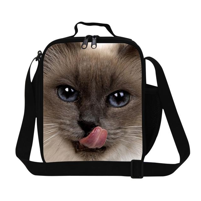 Personalizado do gato saco do almoço para as crianças feminino saco do refrigerador do almoço para a escola das mulheres Pequeno almoço isolados recipiente para refeição de trabalho saco