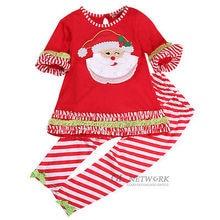New Kids Baby Girl Santa Christmas T-shirt Dress + Leggings Pants Costume Outfit Set Xmas Gift Wholesale
