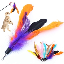 Funny Pets Products For Cats Feather Kitten Part Colorful Stick Pet Scratching Playing Training Toys