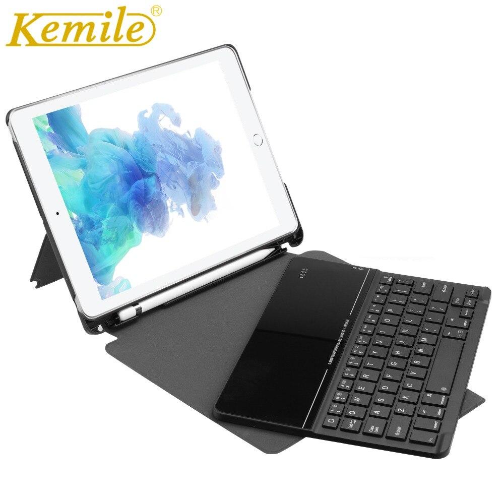 Kemile Sans Fil Bluetooth 3.0 Étui clavier Pour ipad 2017 W porte-crayons Automatique Réveil étui pour ipad 2018 9.7 A1893 A1954