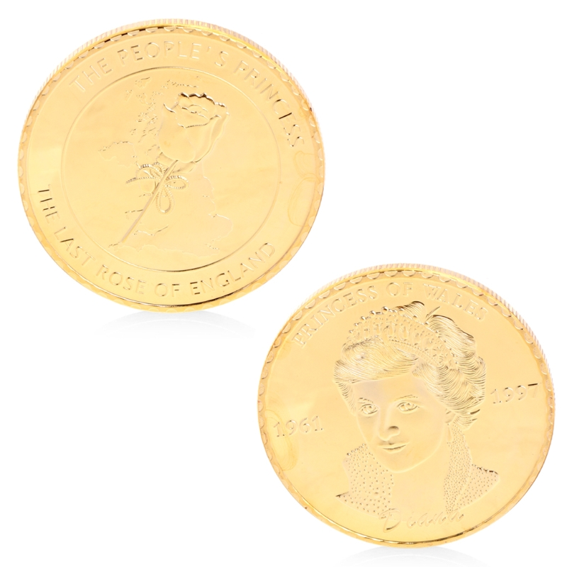 Gold Plated Commemorative Coin Character Pattern Diana Princess Of Wales Rose Collectible Art Gift Souvenir