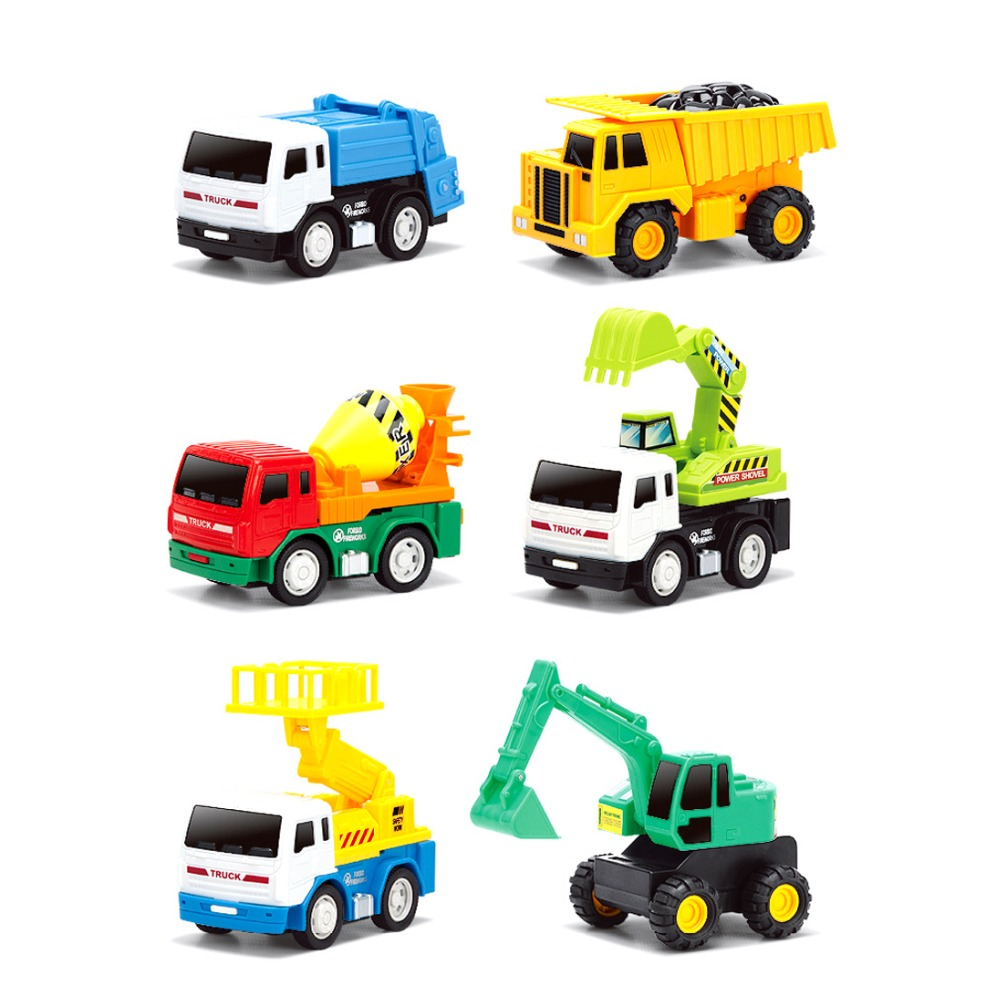 6pcs kids toys vehicles small car truck excavator model toy juguetes for children boy birthday gift