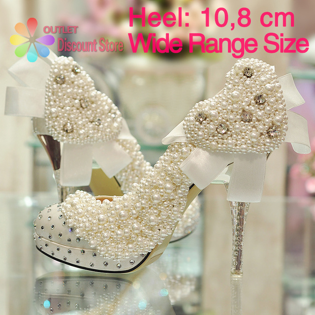 ... luxury bowtie white heart shaped bridal shoes ribbons wedding high  heels glitter pearl clear transp heels ... 6949677c6682