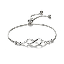 Luxurious Crystal Bracelet Silver Color Adjustable Infinity Charm Bracelets for Women Fashion Jewelry 2018 New 0307