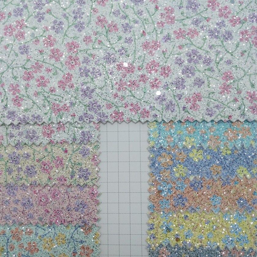 91x134 cm cristal Chunky paillettes cuir avec imprimé fleurs en cuir tissu bricolage accessoires P1833
