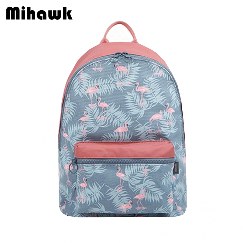 Mihawk Canvas Girl's School Backpack Women's Leisure Travel Shoulder Bags Teenager Multifunction Laptop Mochila Accessory Supply