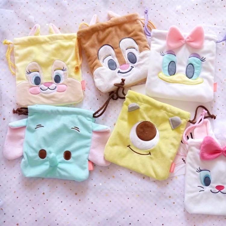 1pc Cartoon Cute Tsum plush chipmunk and Donald plush purses Mairy Cat Chip Dale Dumbo Plush Drawstring bags 21CM
