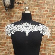 цены на Creamy White Wedding Dress Lace Applique Embroidery Lace FabricWaist Decoration Neckline Lace Collar Bridal Dress Accessories  в интернет-магазинах