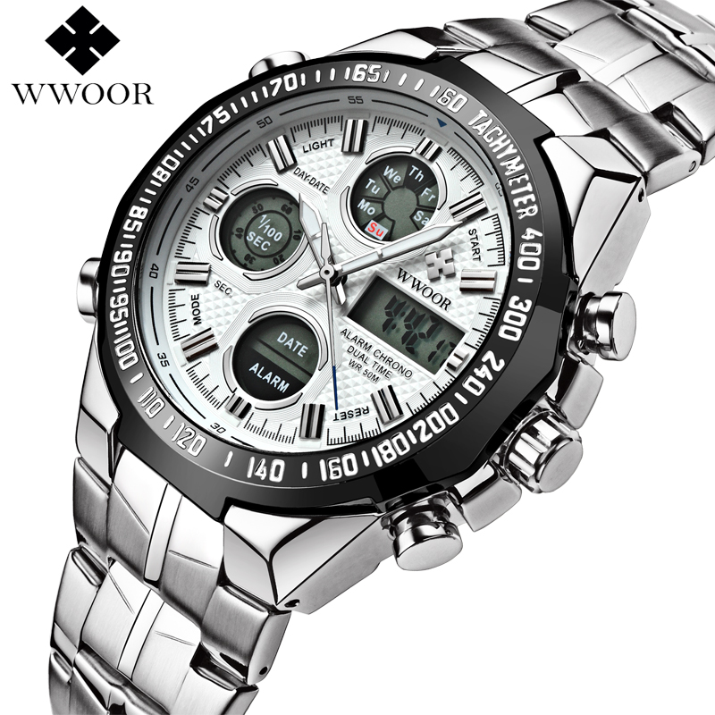 WWOOR Brand Luxury Waterproof Men LED Sports Watches Men's Quartz Digital Analog Clock Male Stainless Steel Army Military Watch