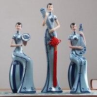 High Grade Resin Classic Cheongsam Lady Figurines Home Decor Crafts Room Decoration Wedding Handicraft Ornament Porcelain