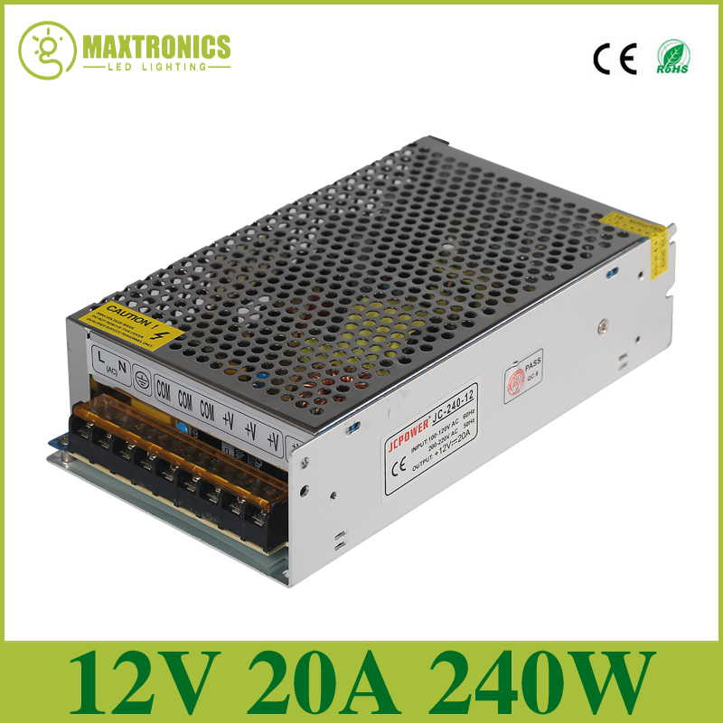 Best quality 12V 20A 240W Switching Power Supply Driver for LED Strip AC 110-240V Input to DC 12V Free shipping 240w 12v 20a power supplies switching power supply driver for led strip light display ac110v 240v input 12v output free shipping