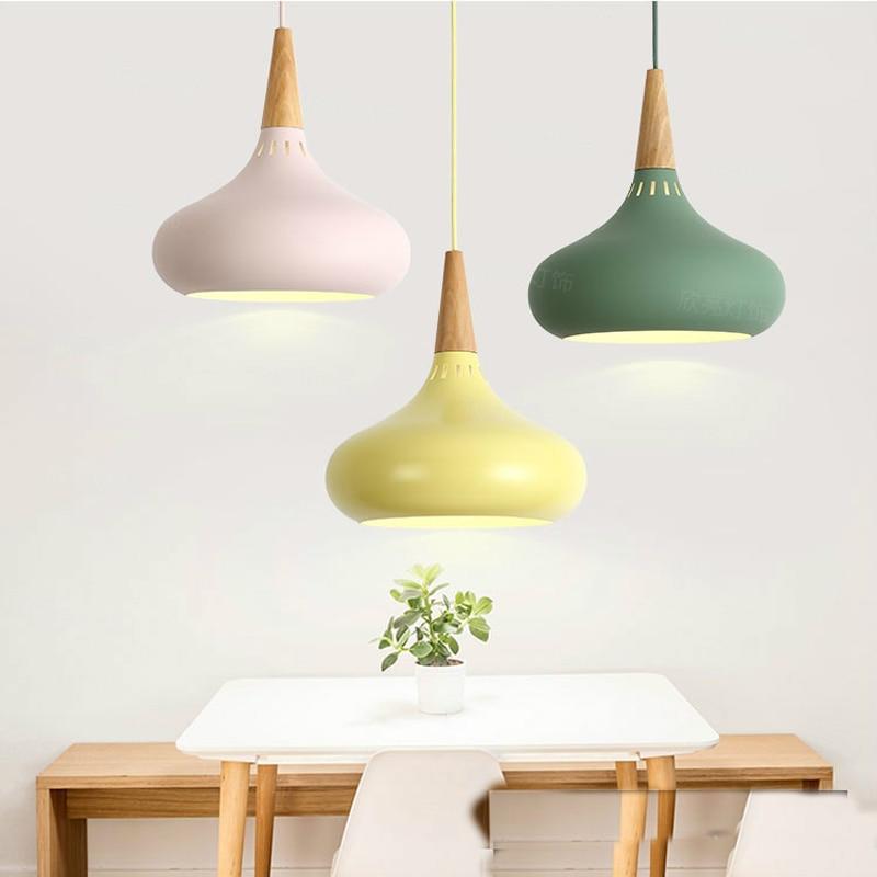 Image 3 - LED Hanglamp Vintage Loft Pendant Lights/Pendant Lamps Aluminum Suspension Luminaire Wood Hanging Lightings Kitchen Lustre Lampe-in Pendant Lights from Lights & Lighting