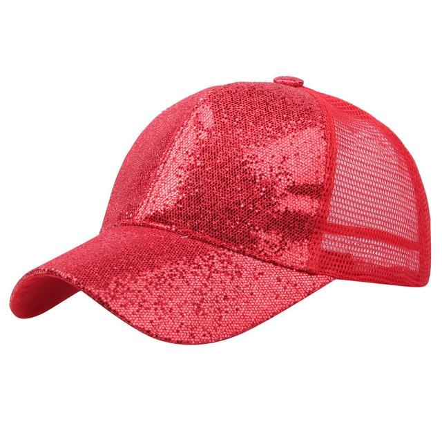 Sequins Summer Hat For Women Girl Ponytail Baseball Cap Shiny Messy Bun Snapback Hat Sun Caps Sombrero Mujer