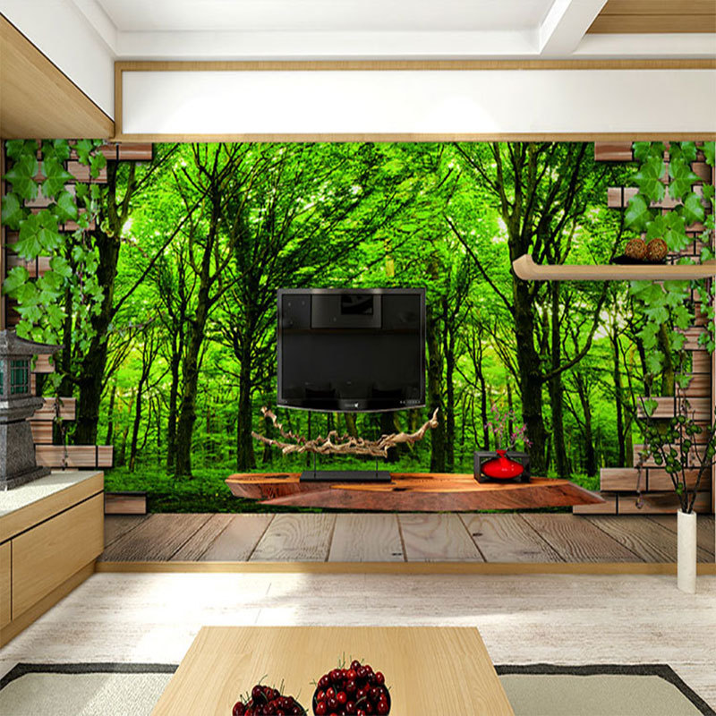 beibehang tiles forest scenery patterns papel de parede wallpaper ...