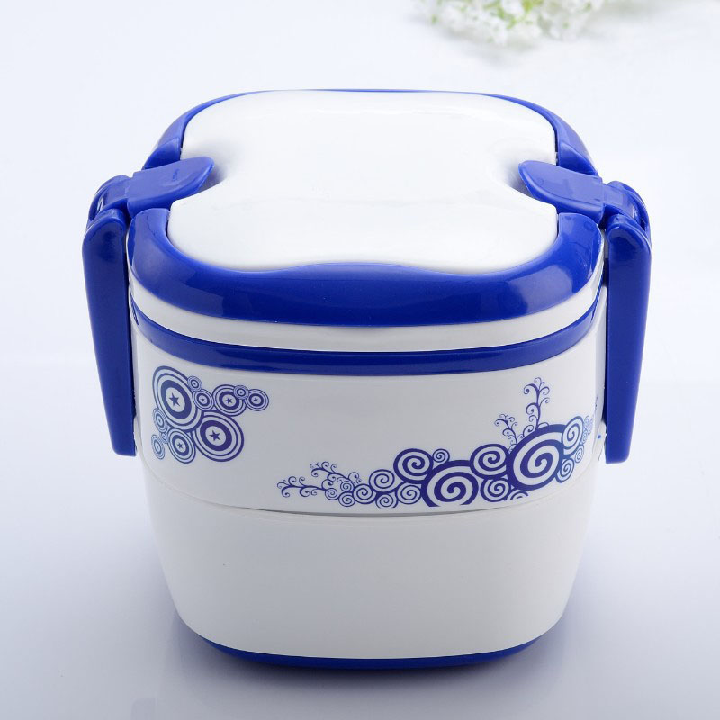 Blue and white traditional chinese Plastic lunch Bento for children Portable Double layered Bento Box Chinese style cutlery(China (Mainland))