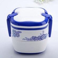 Blauen und weißen traditionellen chinesischen Kunststoff lunch-boxen für kinder Tragbare Doppel layered Bento Box Chinesischen stil besteck