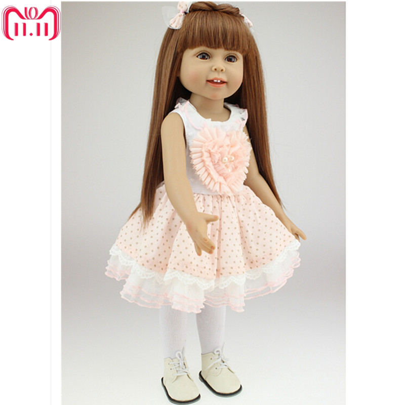 American Girl Doll Princess Doll 18 Inch/45 cm, Soft Plastic Baby Doll Plaything Toys for Children Christmas Birthday Toy Gift [mmmaww] christmas costume clothes for 18 45cm american girl doll santa sets with hat for alexander doll baby girl gift toy