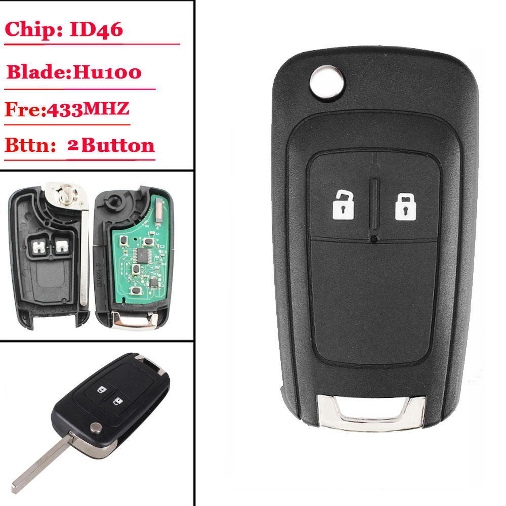 (1piece)2  Buttons Complete Flip Car Remote Key For Opel Astra H G J Vauxhall Key Replace 433MHZ ID46 Electronic Chip On Board