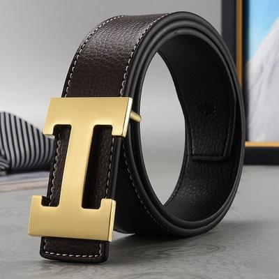 Fashion Men Belt 2019 Cowhide Leather Belts for Men Smooth Belts Buckle With H Letter For Women Genuine Belts Cinturones Hombre