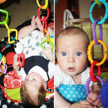 Baby Toys 0-12 months 24 Pcs Rainbow QQ kids Molars Ring Teether Teddy Chain Clutch Ring Apron New Year Gifts