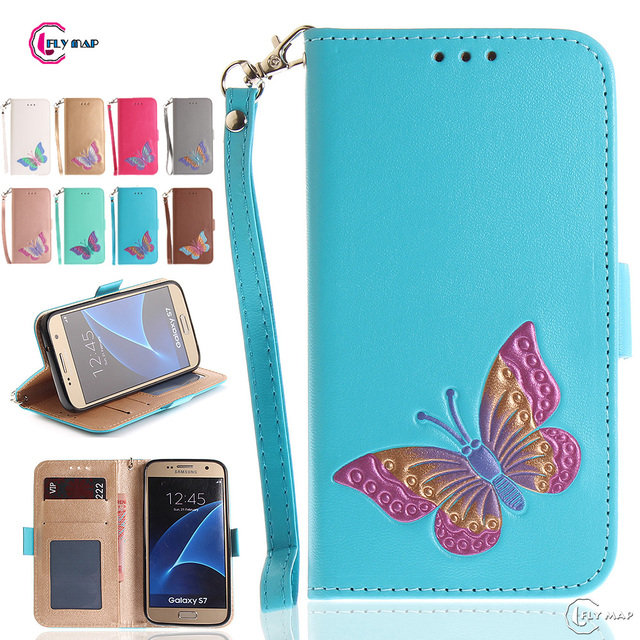 Butterfly Flip Case for Samsung Galaxy S7 S 7 7S G930F SM-G930f G930FD SM-G930fd G930U SM-G930U Wallet Case Phone Leather Cover