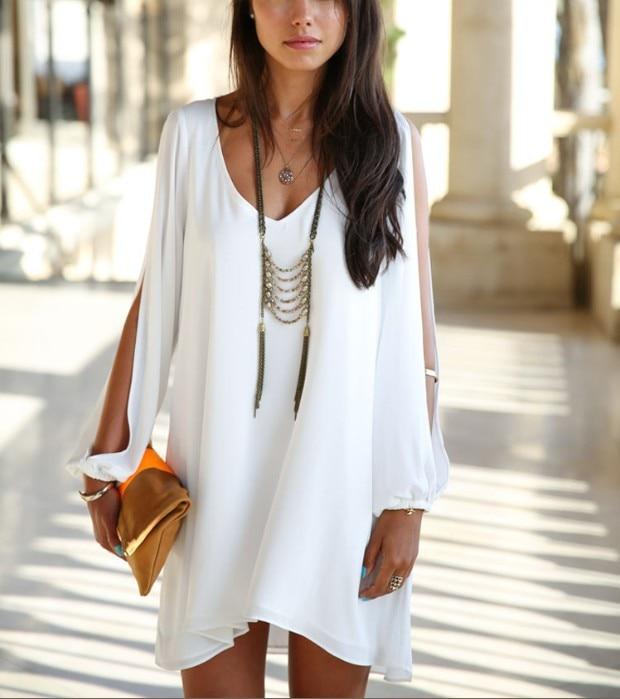 10PCS/LOT Summer Chiffon Short Dress Women Loose Sexy V Neck Strapless A-line Casual Mini Shirt Dress White Beach Thin Dresses