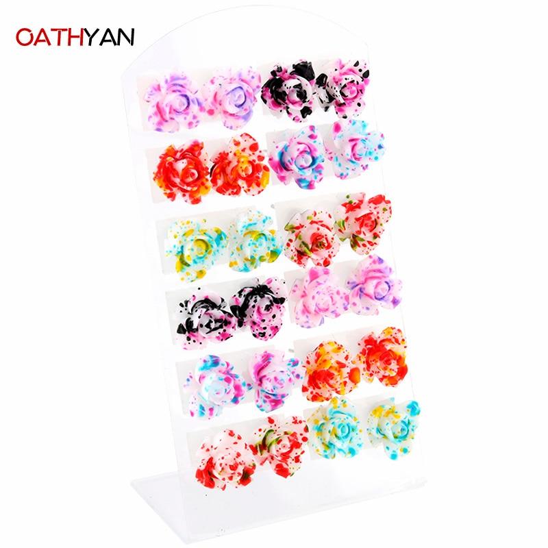 12 paar / set kleurrijke nageloorring set leuke mode handgemaakte hars bloem oorbel set mix unieke oorbellen voor vrouwen meisje geschenken