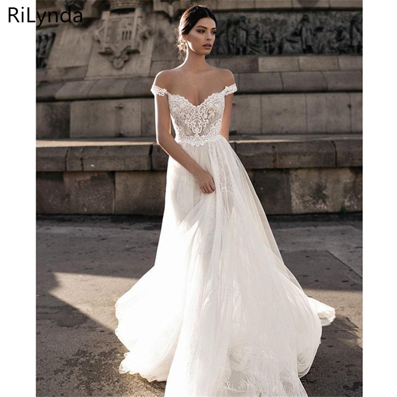 Sexy Wedding Dress Boho Long Backless White Beach Wedding Dress Appliques Lace V Neck Princess Bride Dress Free Shipping